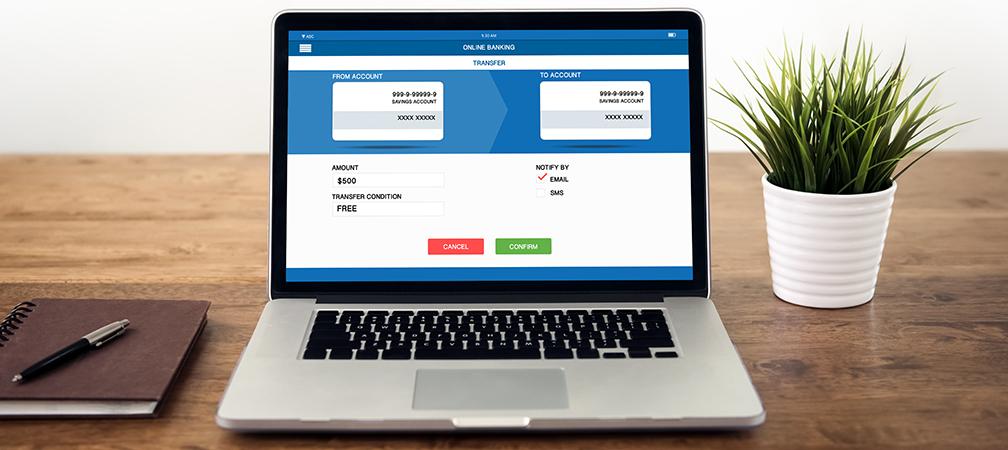 Online Banking Screen on Laptop