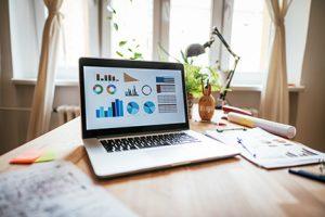 Budget data on laptop