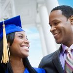 African American Father with Graduating Daughter