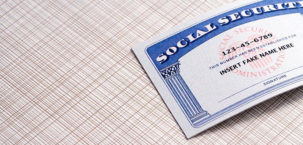 Social Security Card with insert fake name here text