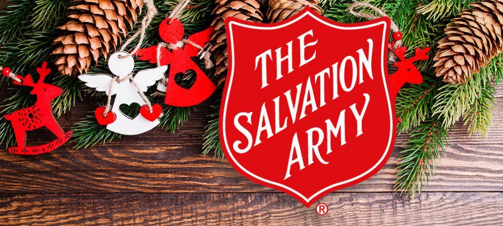 Angel Ornaments on tree with pinecombs and The Salvation Army logo