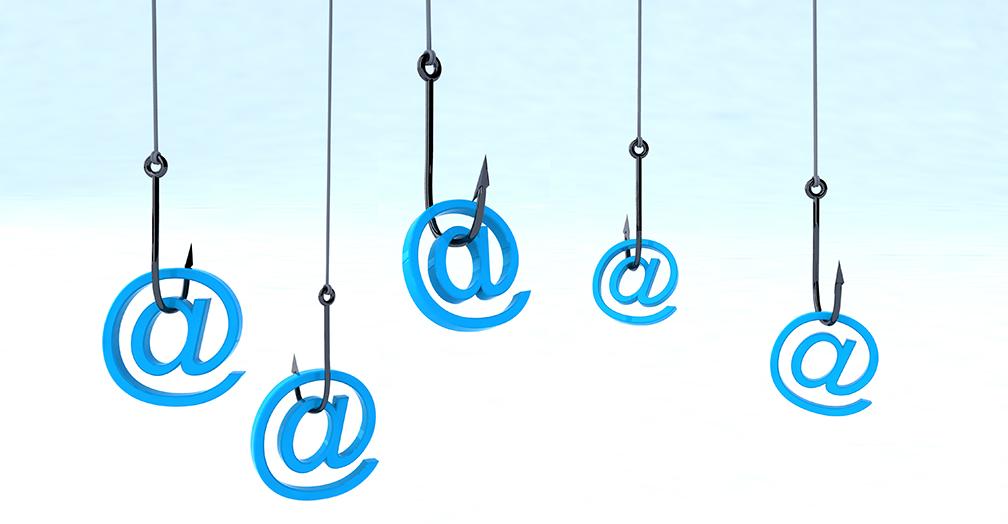 floating at symbols with hooks symbolizing phishing