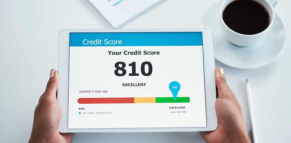 Credit Score display of excellent on tablet