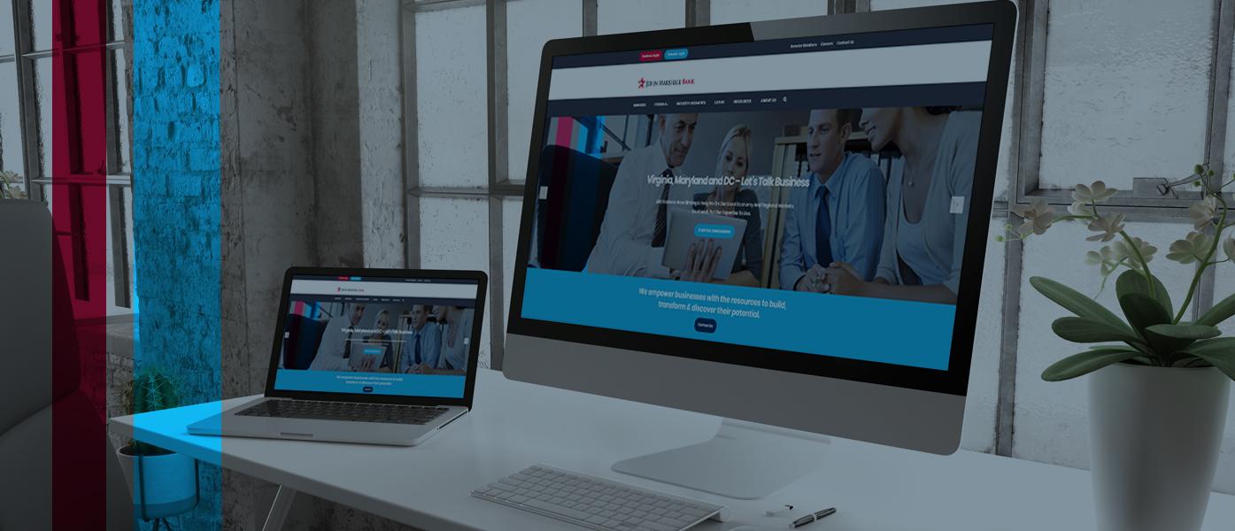 New John Marshall Bank website on desktop and mobile screens
