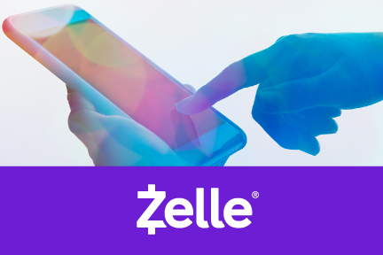mobile device with hand and Zelle Reference