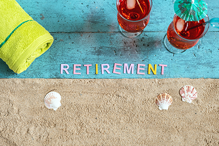 Retirement spelled out on the beach