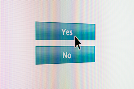 mobile screen with yes and no button options