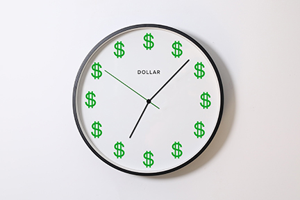 clock face with dollar signs instead of numbers