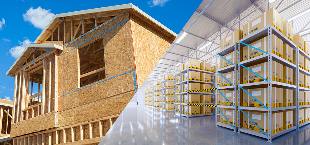 new house construction with modern warehouse space